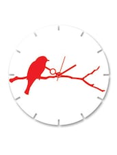 Red And White Wooden Wall Clock - By