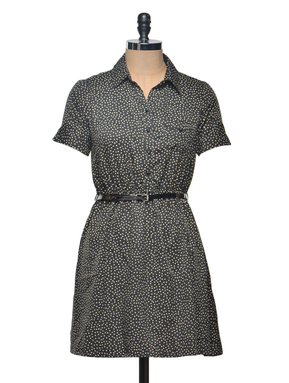 Black Polka Shirt Dress - Thegudlook