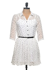 Cute White Polka Shirt Dress - Thegudlook