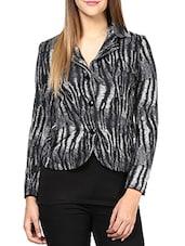 Monochrome Animal Print Cotton Knit Jacket - By