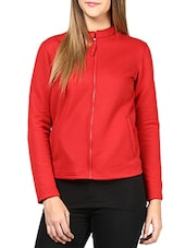 Solid Red Cotton Quilted Knit Jacket - By