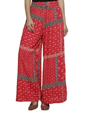 Red Printed Rayon Palazzo - By