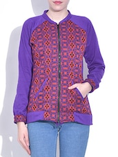 Lavender Printed Cotton Knit Jacket - By