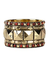 Amazing Golden And Red Ethnic Bangle Set - VR Designers