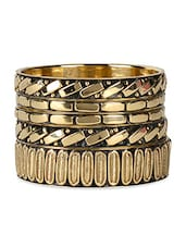 Elegant Metallic Golden Bangle Set - VR Designers