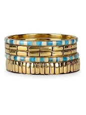 Golden & Blue 5 Piece Bangle Set - VR Designers