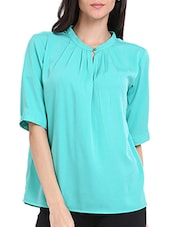 Pleated High Neck Top - Ridress