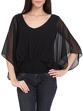 Black Butterfly Sleeve Top - Ridress