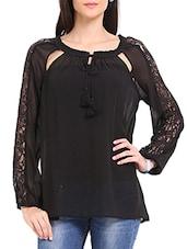 Black Lace Peasant Top - Ridress