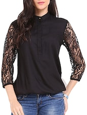 Black Lace Sleeves Top - Ridress