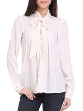 Tie-Up Pin Tuck Blouse - Ridress