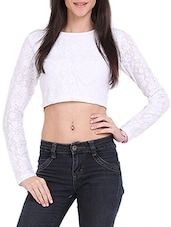 White Lace Crop Top - Ridress