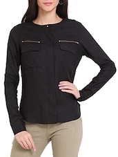 Black Zip Pocket Blouse - Ridress