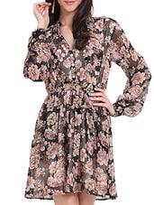 Floral Print Skater Dress - Ridress
