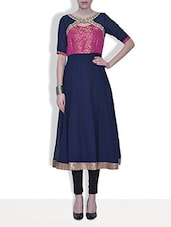Pink And Navy Blue Georgette Kurta - By