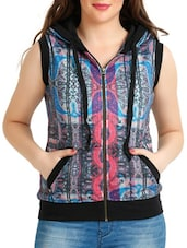 Multicoloured Digital Printed Jacket With Hood - By