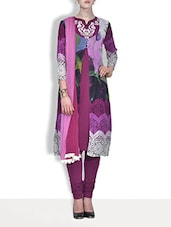 Purple And White Viscose Printed Kurta - By