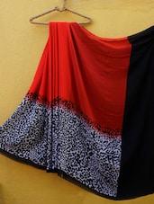 Red And Black Animal Print Saree - ZAHARA