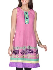 Pink Cotton Printed Sleeveless Kurti - By