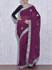 Purple Embroidered Pure Georgette Saree - By