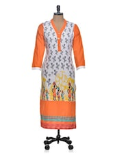 Printed Long Sleeved Long Kurta - Tulsattva