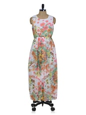 White Floral Print Maxi Dress - Queens