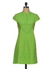 Green Embroidered Cotton Kurti With Pin Tucks - Paislei