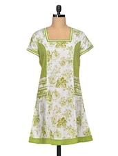 Green And White Floral Print Cotton Kurti - Paislei