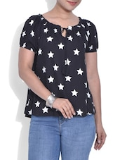 Black Star Printed Short Sleeved Rayon Top - By
