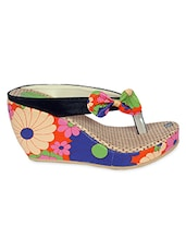 Multicolored bow embellished floral faux leather wedges -  online shopping for wedges