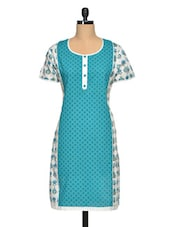 Printed Round Neck Blue And White Cotton Kurta - Paislei