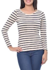 White and Blue Modal Spandex Striped Boat Neck Top -  online shopping for Pullovers