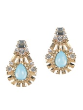 Gorgeous Golden Drop Earrings With Blue Stone - YOUSHINE