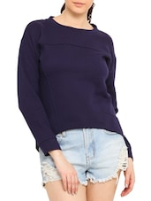 Navy High Low Cotton Poly Fleece Sweatshirt - By
