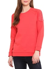 Coral Studded Cotton Poly Fleece Sweatshirt - By