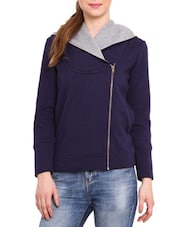 Navy Hooded Cotton Poly Fleece Sweatshirt - By