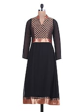 black and golden georgette A- Line kurta -  online shopping for kurtas
