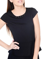 Chic Black Round Neck Peplum Top - Pera Doce
