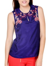 Floral Touch Dark Blue Top - Pera Doce