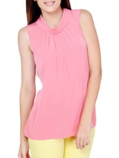 Peach Pink Slight Gather Detail Top - By
