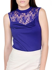 Chic Purple Top With Sheer Yoke - Pera Doce