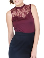 Chic Maroon Top With Sheer Yoke - Pera Doce