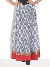 White Cotton Motif Printed Long Skirt - By