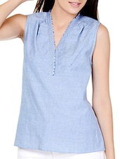 Denim Style Blue Tattered V-neck Top - Pera Doce