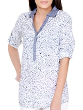 Iris Blue On White Printed Cotton Top - Pera Doce