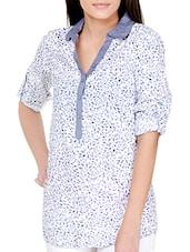 Iris Blue On White Printed Cotton Top - Pera Doce