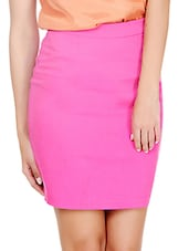 Hot Pink Fitted Pencil Skirt - Pera Doce