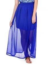 Electric Blue Sheer Maxi Skirt With Inner Short Skirt - Pera Doce