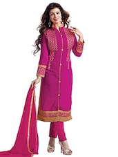 Magenta Embroidered Semi-stitched Chanderi Silk Suit Set - By
