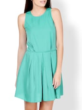 Dynasty Green Coloured Fit-and-Flare Flirty Dress - Pera Doce
